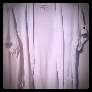 1X white short sleeve cardigan